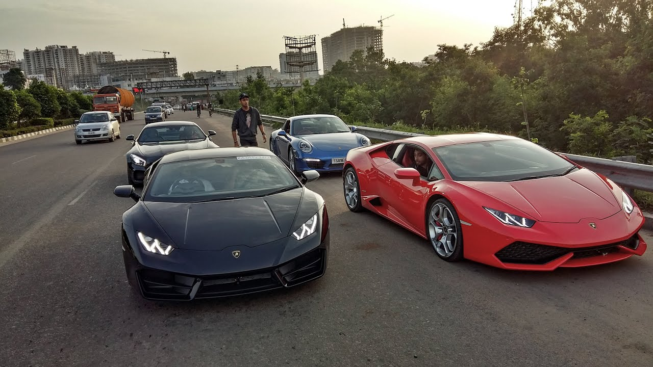 Supercars In India Hyderabad Sunday Morning Drive Youtube
