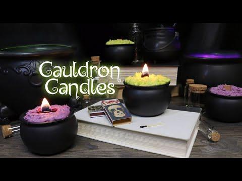 DIY Cauldron Candles : Halloween Candles : Wood Wick Candles : Potion Cauldron Prop