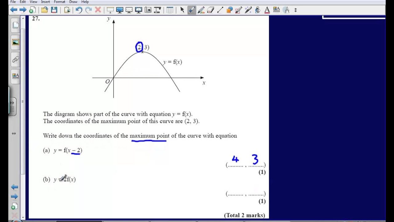 Graph transformations Question 27 Edexcel GCSE Maths 2008 Non – Graph Transformations Worksheet