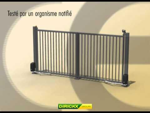 dirickx portail pivotant motoris youtube. Black Bedroom Furniture Sets. Home Design Ideas