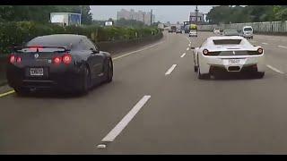 [CRASH] NISSAN GTR vs. FERRARI 458 Spider - Idiot in Ferrari runs the scene
