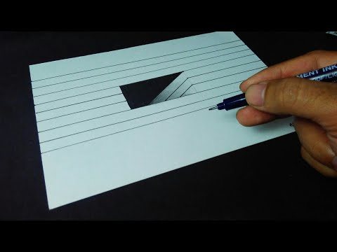 Tutorial how to draw 3D hole on paper