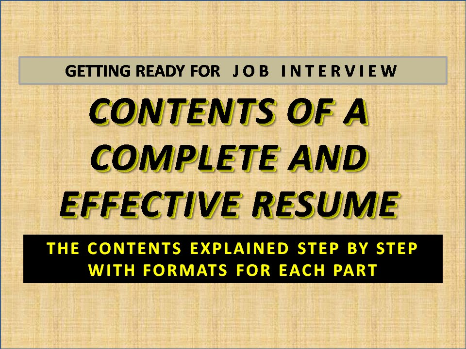 job interview contents of resume youtube