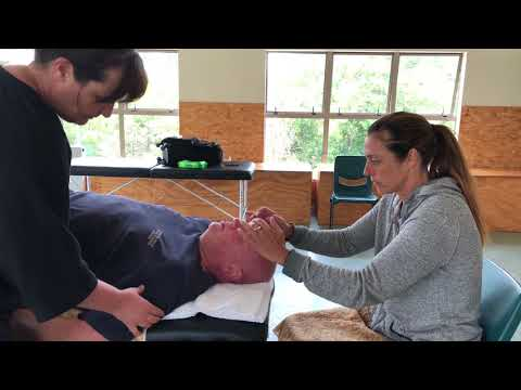 Group Massage. Raynor Massage Students Practicing On Founder Of Raynor Massage, Brandon Raynor