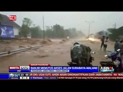 Banjir Bandang Terjang Pasuruan, Jalan Surabaya-Malang Lumpuh Total