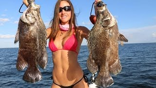 Fishing with Luiza catches tripletail with 3 other hooks in its belly