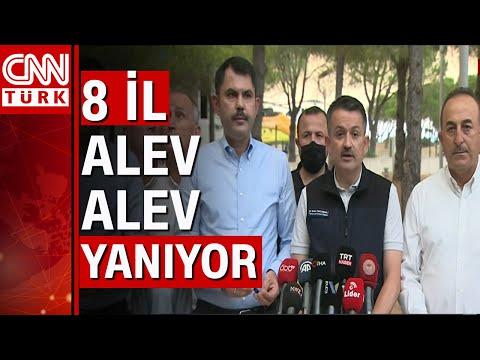Bakan Pakdemirli, Kurum ve Çavuşoğlu'ndan flaş açıklama! 8 ildeki orman yangınında son durum…