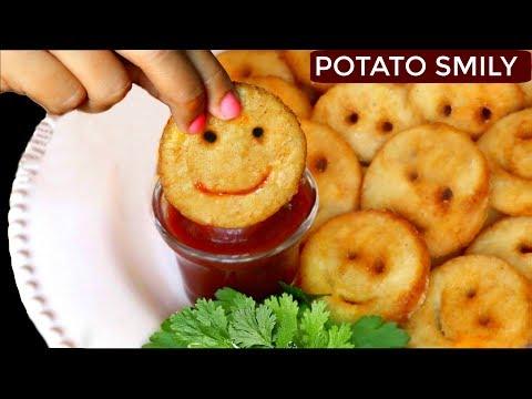 How To Make Potato Smiley   Easy Snacks For Kids Lunch   CookWithNisha