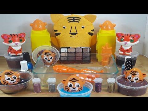 Tiger Slime ★Mixing Makeup Eyeshadow Glitter into SLIME★ASMR★Satisfying Slime Video#41
