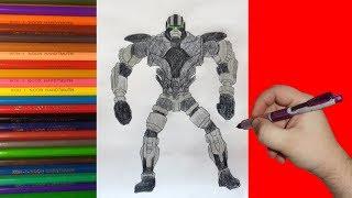 How to draw robot ZEUS, Real Steel, Как нарисовать робота ЗЕВСА, Живая Сталь