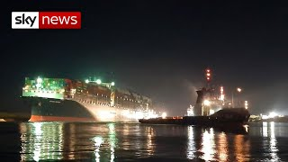 Suez Canal ship 'partially refloated'