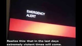 An announcement of the arrival of the end of times interrupts a TV program in the USA