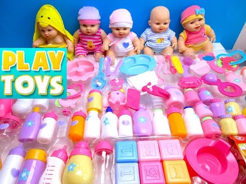 Thumbnail: Baby doll toys 100 baby accessories - playing bathtime, feeding, potty, diaper change