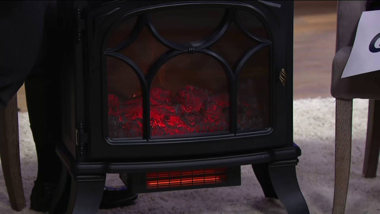 Duraflame 1500W Large Infrared Quartz Stove Heater W/Flame Effect On QVC