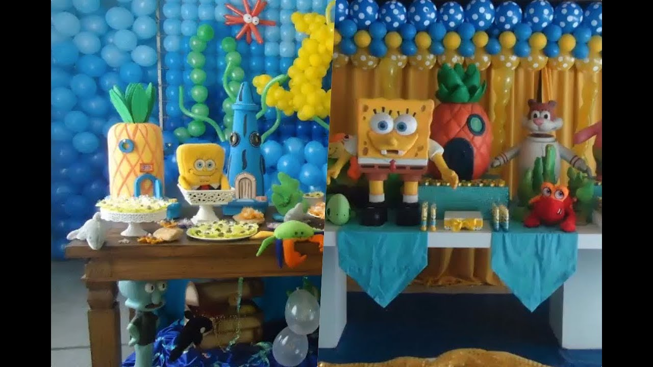 Decoracion con globos de bob esponja para fiestas youtube - Decoracion bob esponja ...