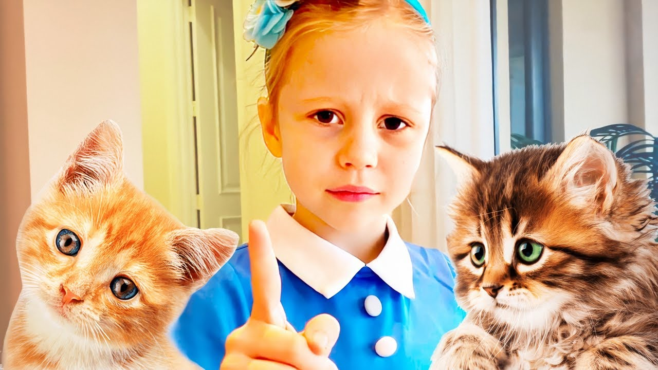 Nastya and her funny pets kittens