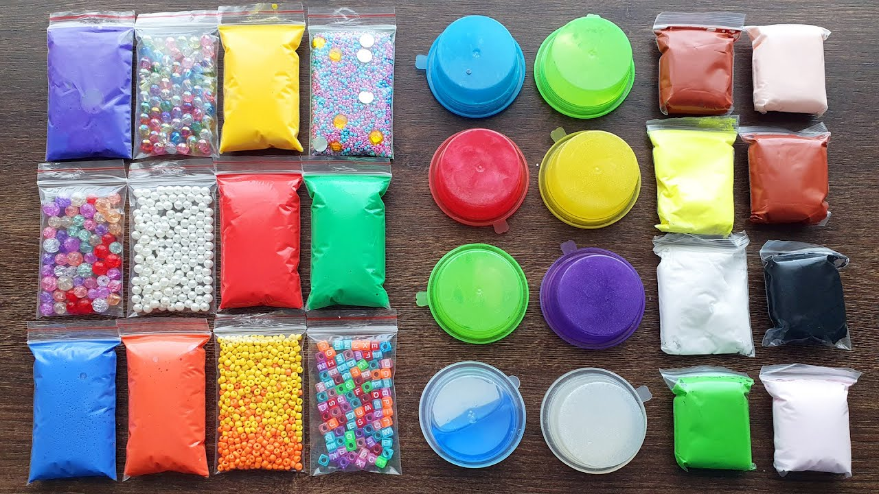 Making Slime with Bags and Clay and Store Bought Slime