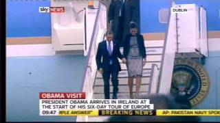 President Barack Obama lands in Ireland on Air Force One