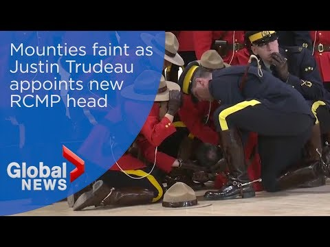 Iconic Canadian Mounties faint during appointment of new commissioner