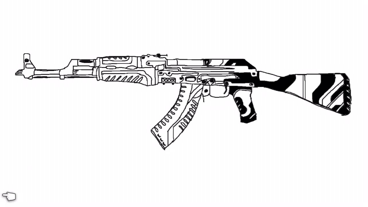 This is a picture of Sweet Drawing Of Ak 47