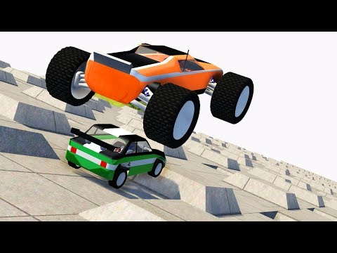 RC Toy Car Multiple Speed Bump Jumps Crashes - BeamNG.drive