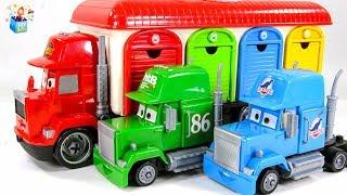 Learning Color Disney Pixar Cars Lightning McQueen mack truck garage carrier play video for kids
