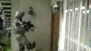 Girl Soldier Attempts to Kick in the Door