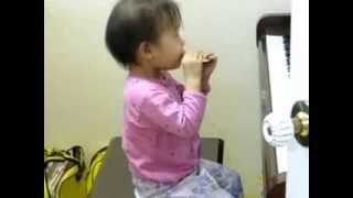 bé gái thổi harmonica   nhỏ nhưng có võ ^^
