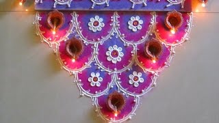Easy and colorful semi circle rangoli for diwali | Innovative rangoli designs by Poonam Borkar