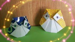 Самая Простая Оригами Сова Из Бумаги Без Клея. Сделает Каждый