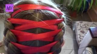 Как заплести косу с лентой! Коса карсет! How to braid a braid with a ribbon!