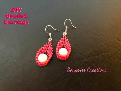 Swing Pearl Earrings Peyote stitch Easy Tutorial 💞