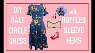 DIY HALF CIRCLE DRESS WITH RUFFLED SLEEVES | STATEMENT SLEEVES | DIY CUTE SUMMER DRESS
