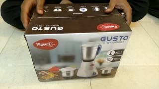 Pigeon Gusto 550 Watt Mixer Grinder Unboxing and Functionality Review