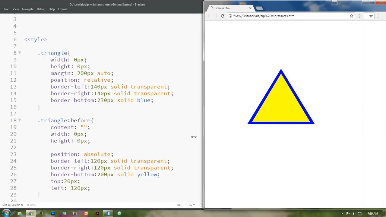 Css triangle with border - Shape | web zone