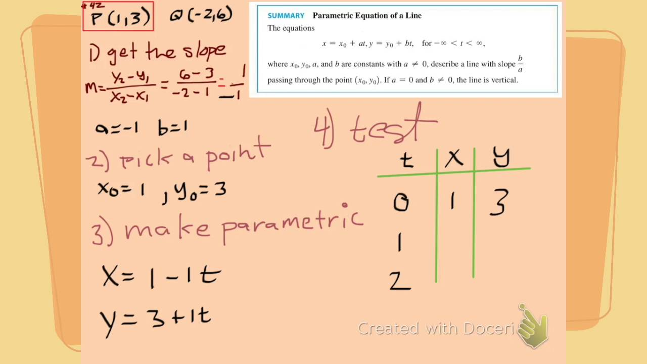 Find the parametric equation of a line segment between two points ...