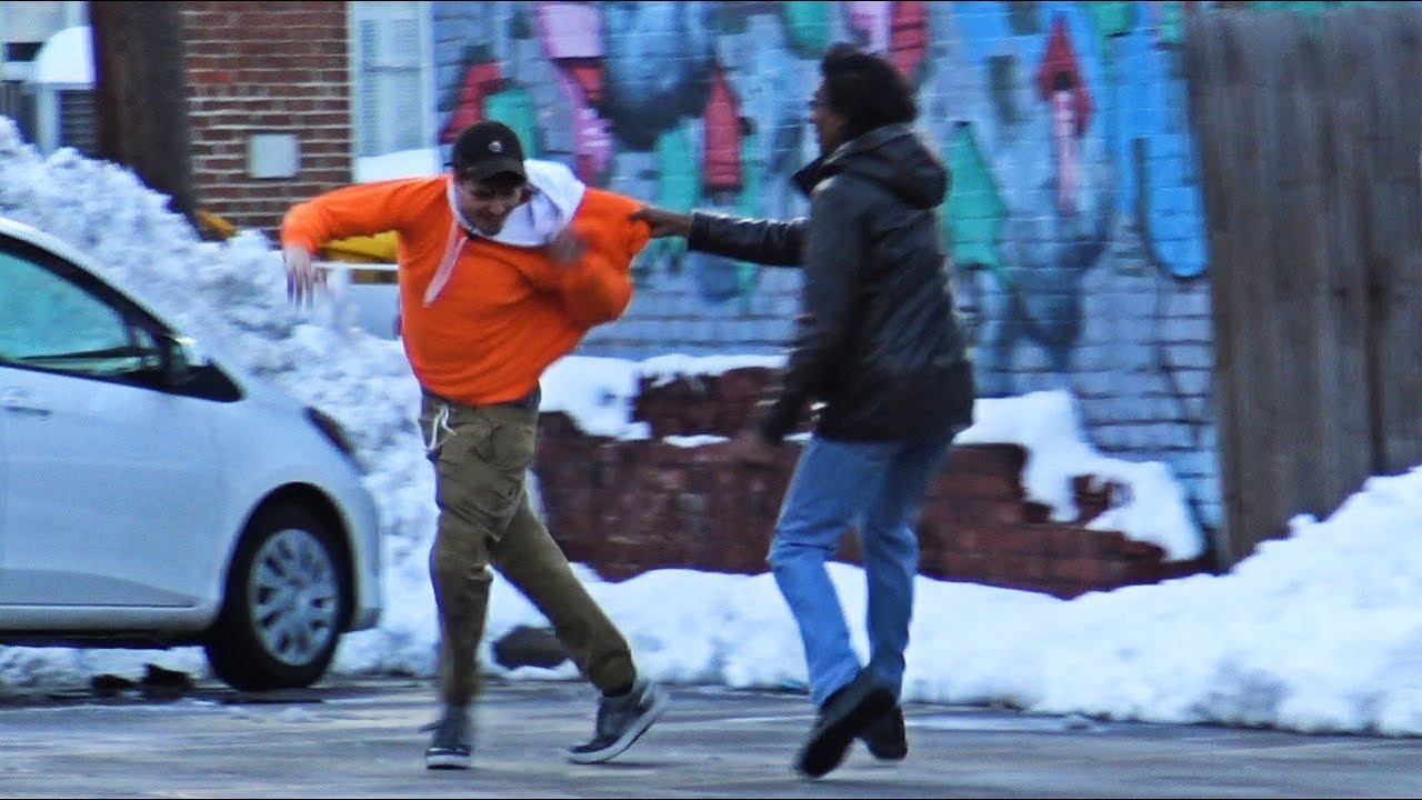 Throwing Snowballs At People Prank Part 4