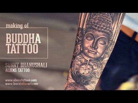 62ce414ad Buddha, Pocket Watch and Roses Tattoo Tutorial - Learn Advance Tattoo  Techniques. Sunny Bhanushali