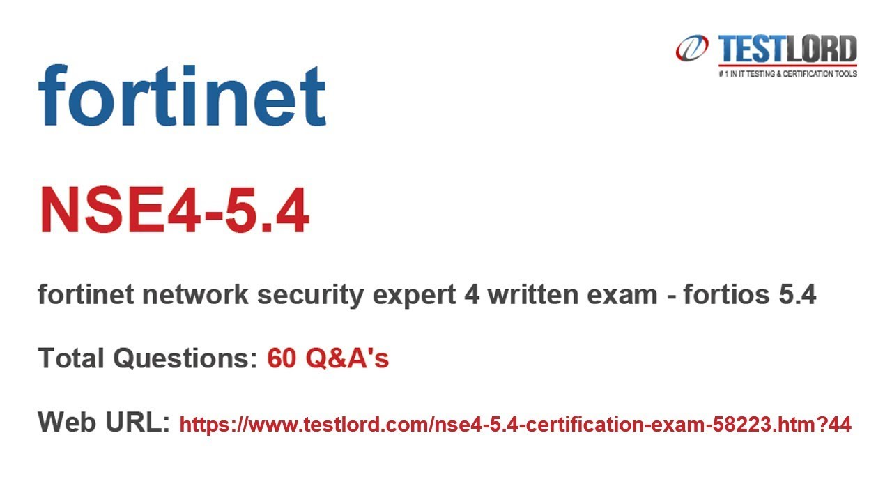 Fortinet NSE4-5.4 Certification Questions & Answers in PDF - YouTube