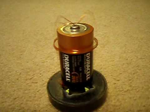 Electric motor run off of d battery youtube for Battery powered dc motor