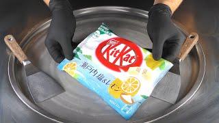 ASMR - KitKat Ice Cream Rolls | how to make rolled fried Ice Cream with Kit Kat Lemon Chocolate Bar