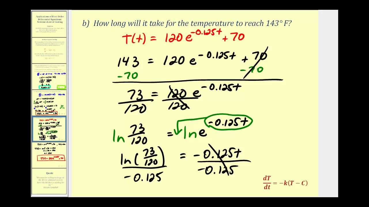 Newton's law of heating example youtube.