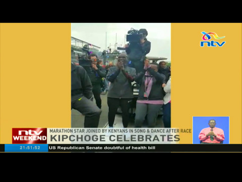 Kipchoge Celebrates: Marathon star joined by Kenyans in song & dance after race