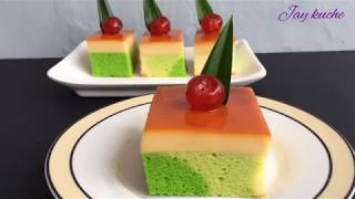 Pandan Cotton Cake With Caramel Custard Pudding Recipe