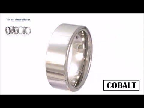 Men's 8mm Polished Flat Cobalt Wedding Ring