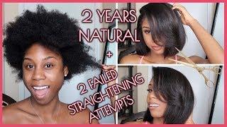2 Year Natural Hair Update + Trim &  2 Failed Attempts Straightening My Hair!