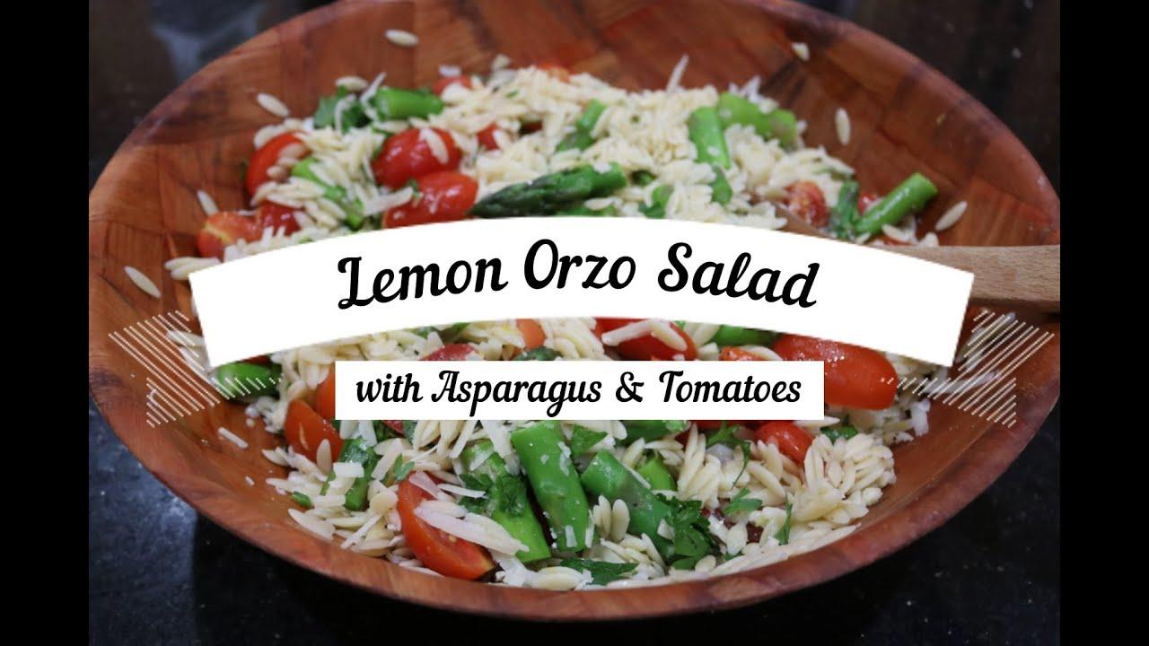 Lemon Orzo Salad with Asparagus & Tomatoes