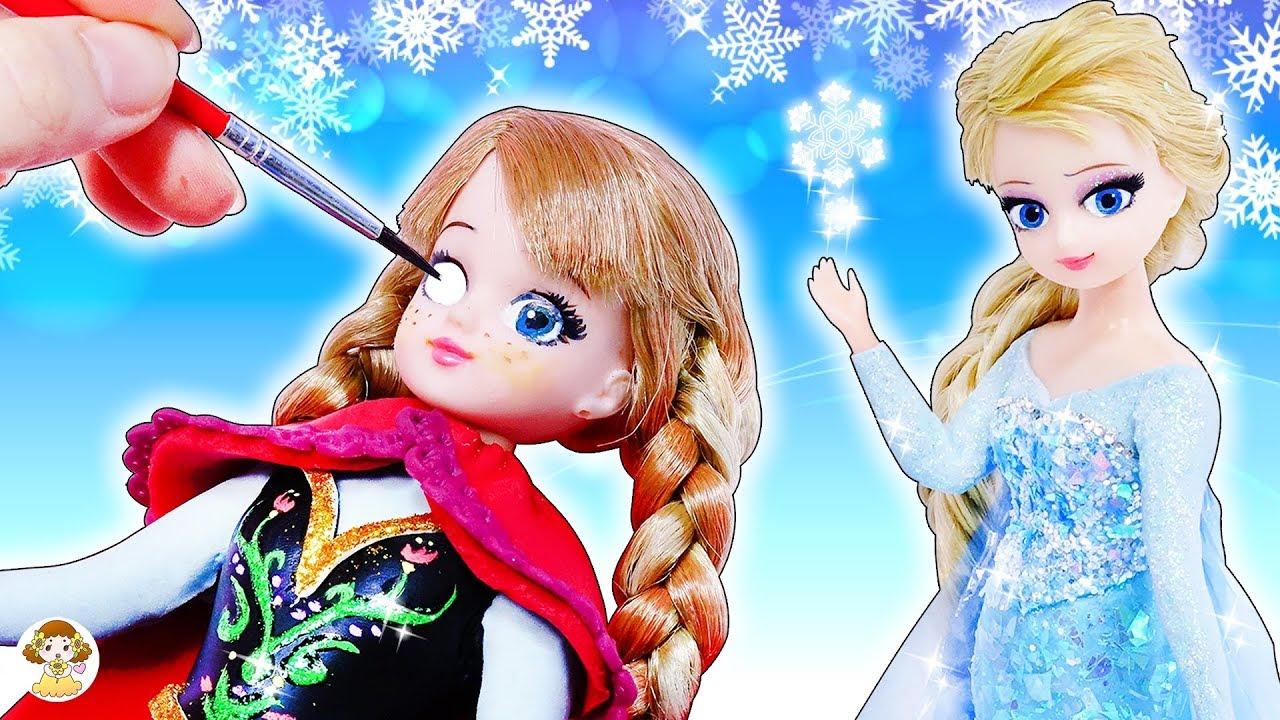 リカちゃん エルサとアナに変身❤DIY粘土ドレスとメイクで手作りアナ雪コーディネート⭐ハルトくんとデートにいくよ♪おもちゃ 人形 アニメ