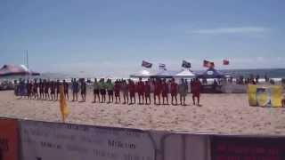 Thailand & Australia Teams, Aust Beach Soccer Cup, North Wollongong Beach, N.S.W., Australia.