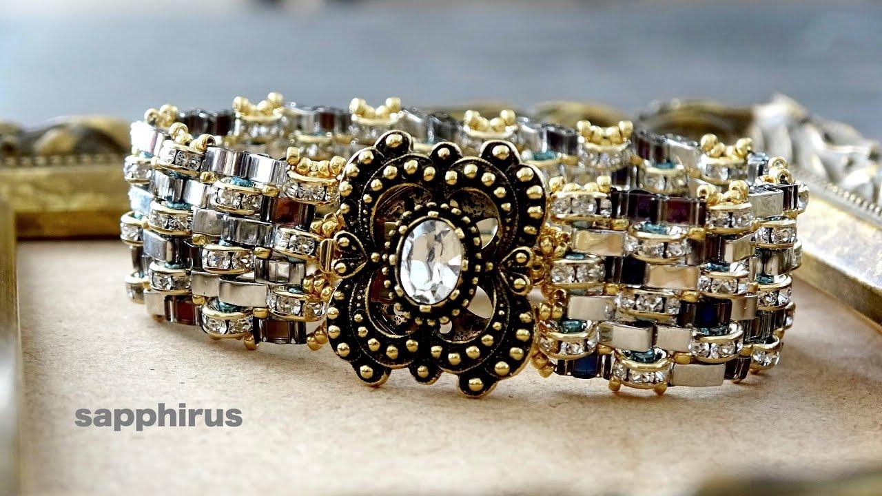 【ビーズステッチ上級】ハーフティラビーズで作るモザイク模様のブレスレット☆作り方 DIY/Beaded Bracelet/MIYUKI Half TILA beads/Peyote stitch